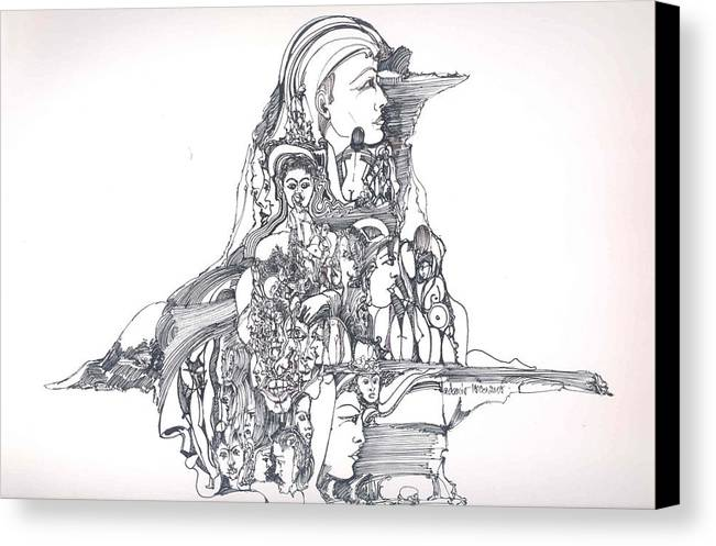 Surreal Canvas Print featuring the drawing Forms In The Head by Padamvir Singh
