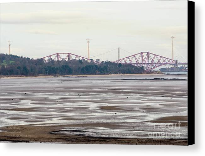 Landscapes Canvas Print featuring the photograph From Cramond To Forth Bridge, Forth Road Bridge, And Forth Crossing by Colin Mackay