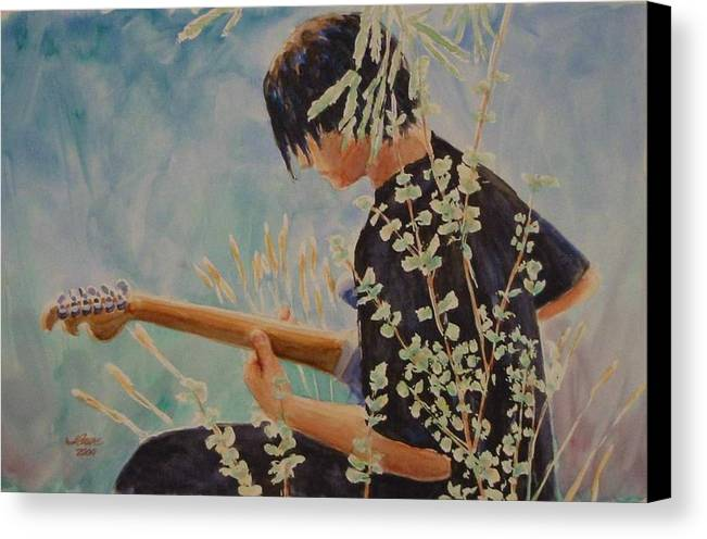 Guitar Player Canvas Print featuring the painting Guitar Man by Jerry Cave