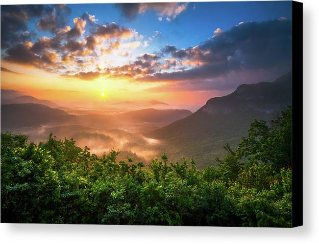 Sunset Canvas Print featuring the photograph Highlands Sunrise - Whitesides Mountain In Highlands Nc by Dave Allen