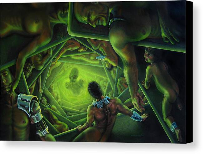 Sci-fi Canvas Print featuring the painting One Terrible Night by Pat Lewis
