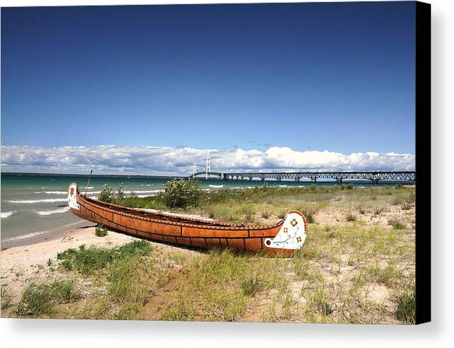 Canoe Canvas Print featuring the photograph Past And Present by G Teysen