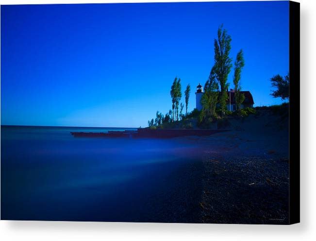 Point Betsie Lighthouse. Lighthouse Canvas Print featuring the photograph Point Betsie Lighthouse by Michael Tucker