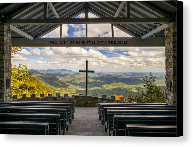 Pretty Place Chapel Canvas Print featuring the photograph Pretty Place Chapel - Blue Ridge Mountains Sc by Dave Allen