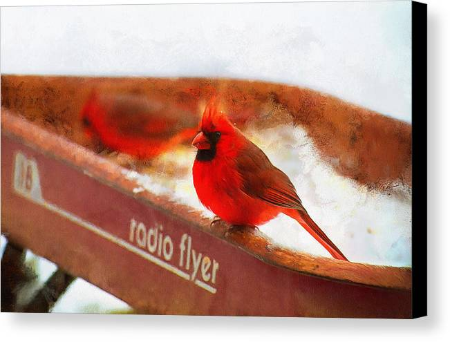 Redbird Art Canvas Print featuring the painting Red Wagon Winter by Sherry Gaston