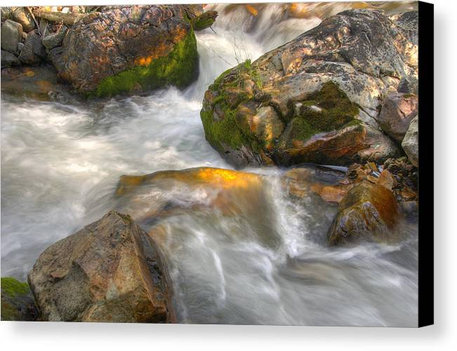 River; Stream; Creek; Rivulet; Brook; Water; Fall; Falls; Waterfall; Watercourse; Cascade; Torrent; Canvas Print featuring the photograph Rushing Water 1 by Douglas Pulsipher