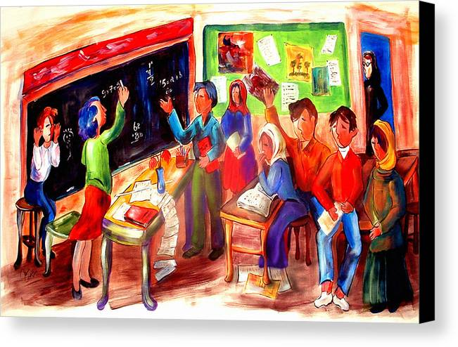 Children Canvas Print featuring the painting School Days In Morocco by Patricia Rachidi