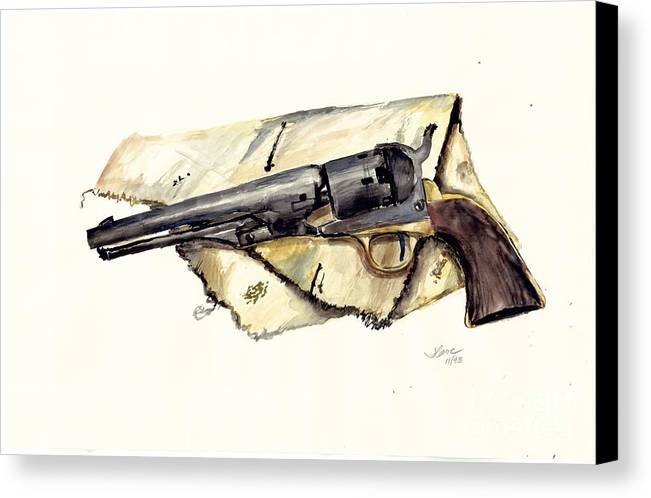 Watercolor Canvas Print featuring the painting The Old Colt by Jerry Cave