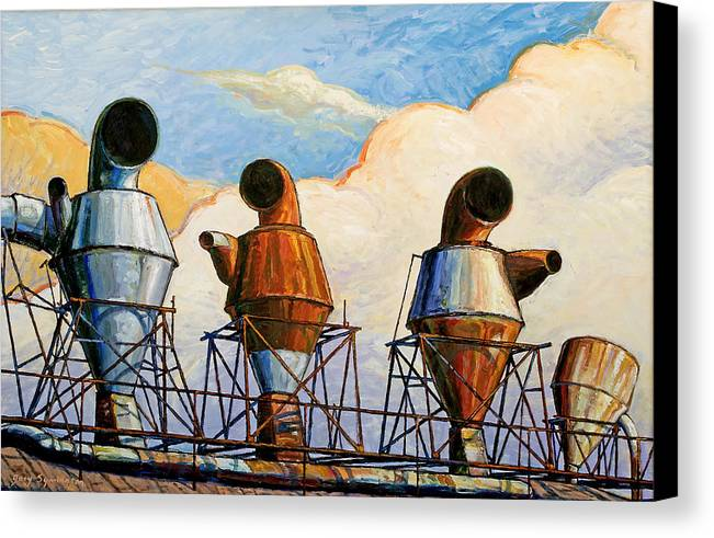 Landscape Canvas Print featuring the painting Three Sentinels by Gary Symington