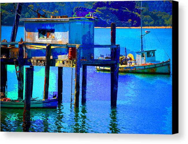 Canvas Print featuring the digital art Two Boats by Danielle Stephenson