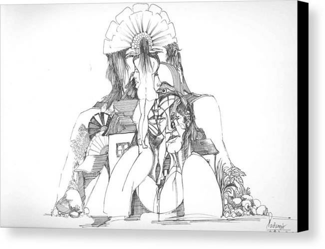 Surreal Canvas Print featuring the drawing Women Heads And A Rock by Padamvir Singh