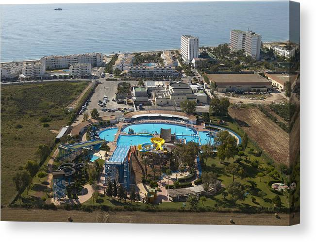 Baleares Canvas Print featuring the photograph Aguamar Water Park In Playa Den Bossa by Xavier Durán