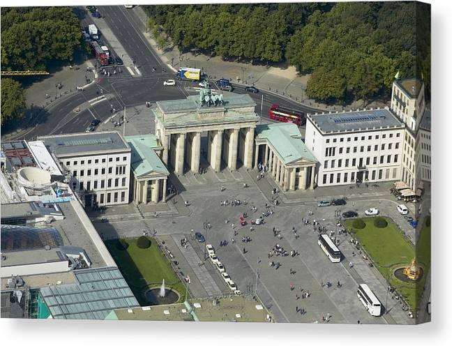 Aerial Canvas Print featuring the photograph Bradenburg Gate, Berlin by Xavier Durán