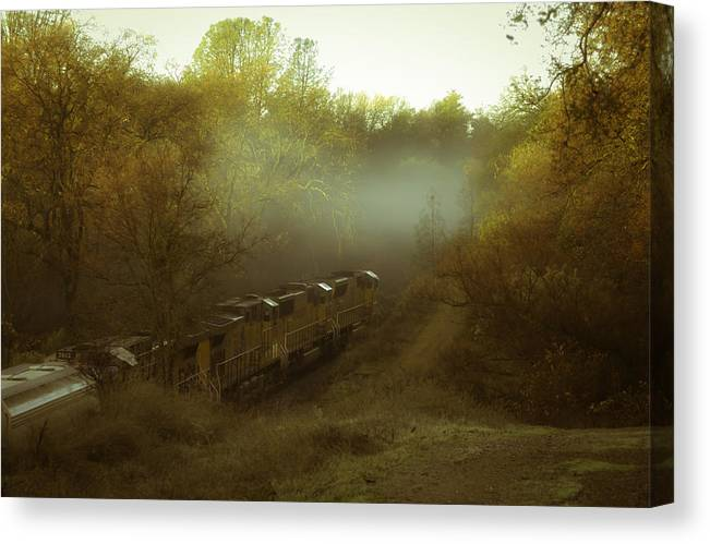 Train Canvas Print featuring the photograph Passing Through Auburn by Sherri Meyer