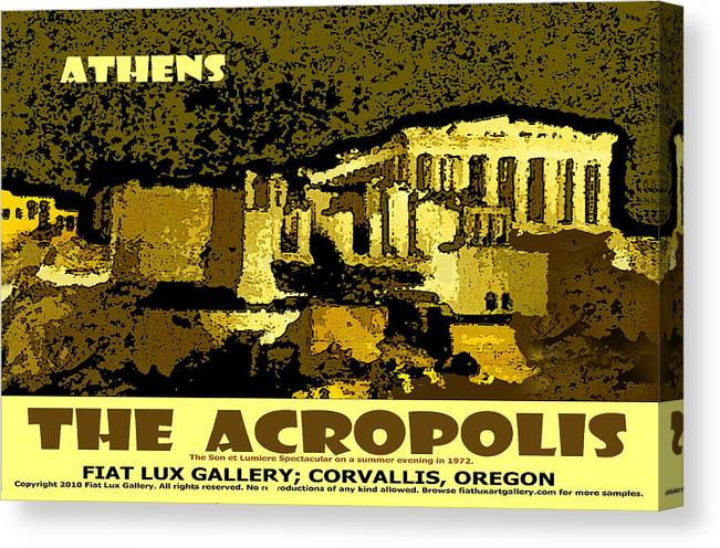 Athens Canvas Print featuring the digital art The Acropolis Athens by Michael Moore