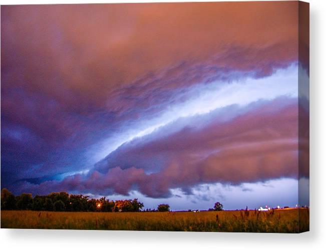 Nebraskasc Canvas Print featuring the photograph Developing Nebraska Night Shelf Cloud 006 by NebraskaSC