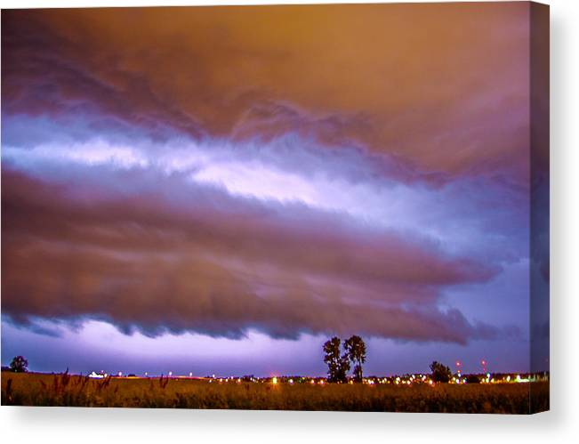 Nebraskasc Canvas Print featuring the photograph Developing Nebraska Night Shelf Cloud 008 by NebraskaSC
