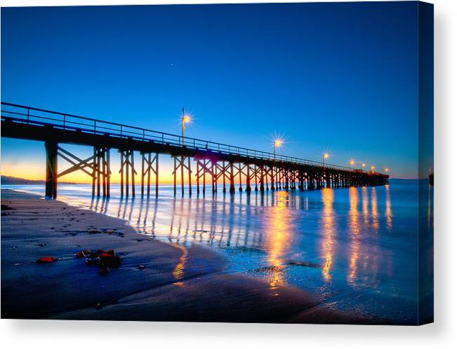 Hdr Canvas Print featuring the photograph Goleta Pier At Sunrise by Connie Cooper-Edwards