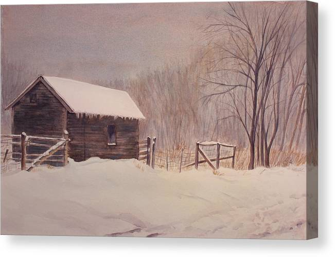 Barn Canvas Print featuring the painting Winter On The Farm by Debbie Homewood