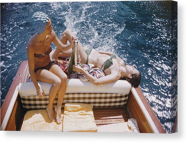 1950-1959 Canvas Print featuring the photograph Vuccino And Rava by Slim Aarons