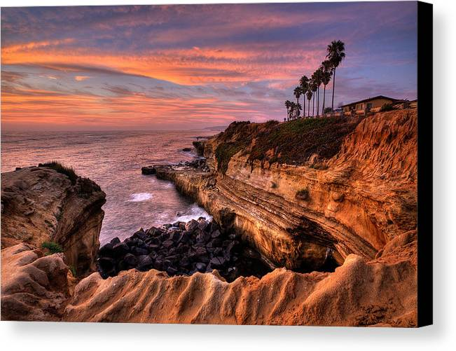 Beach Canvas Print featuring the photograph Sunset Cliffs by Peter Tellone