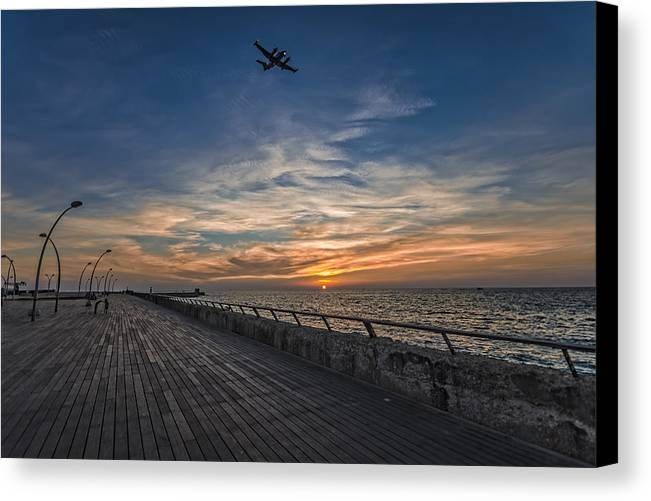 Israel Canvas Print featuring the photograph a kodak moment at the Tel Aviv port by Ron Shoshani