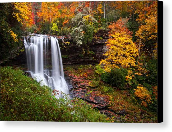 Waterfalls Canvas Print featuring the photograph Autumn At Dry Falls - Highlands Nc Waterfalls by Dave Allen