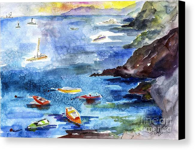 Italian Canvas Print featuring the painting Boating In Italy Watercolor by Ginette Callaway
