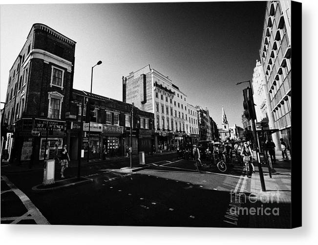 High Canvas Print featuring the photograph borough high street morning London England UK by Joe Fox