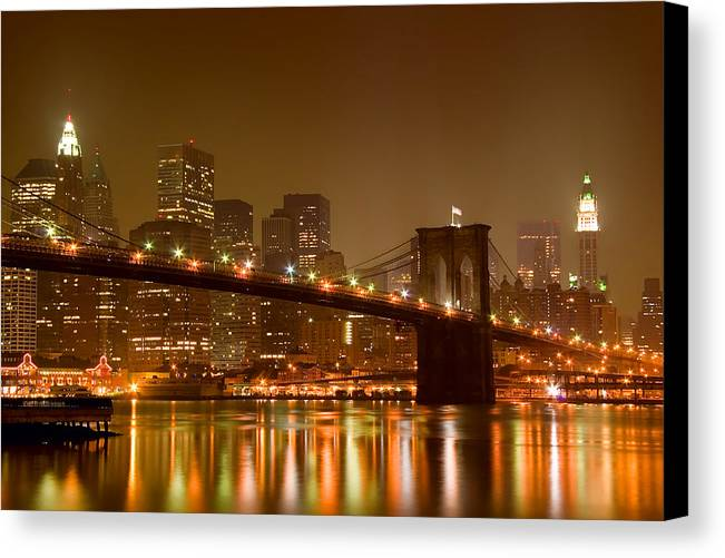 Architecture Canvas Print featuring the photograph Brooklyn Bridge And Downtown Manhattan by Val Black Russian Tourchin