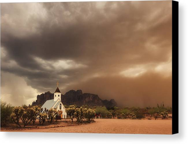 Architecture Canvas Print featuring the photograph Chapel In The Storm by Rick Furmanek