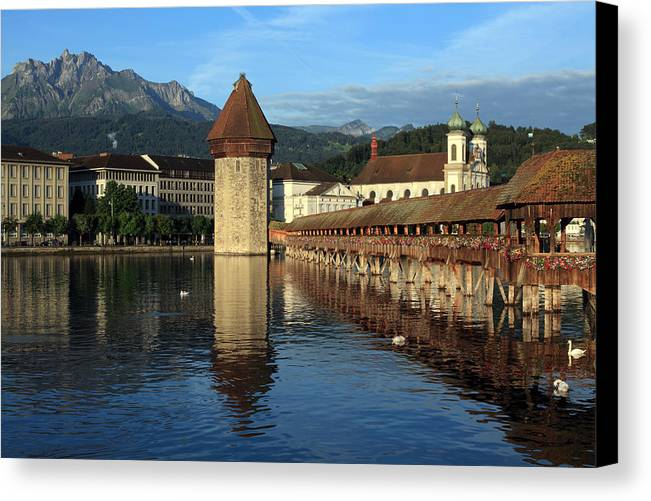 Luzern Canvas Print featuring the photograph City Of Lucerne In Switzerland by Ron Sumners