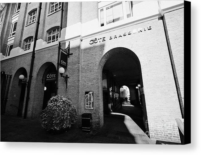 Cote Canvas Print featuring the photograph cote brasserie at the hays galleria with jubilee walkway southwark London England UK by Joe Fox