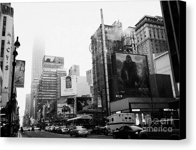 Usa Canvas Print featuring the photograph empire state building shrouded in mist from west 34th Street and 7th Avenue King Kong movie poster by Joe Fox