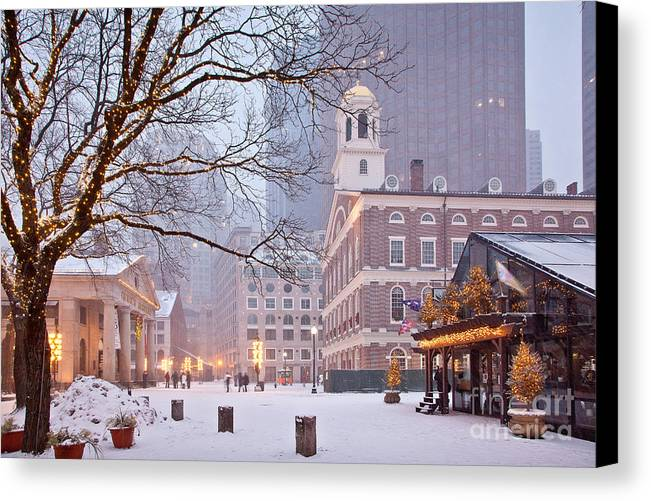 Architecture Canvas Print featuring the photograph Faneuil Hall In Snow by Susan Cole Kelly
