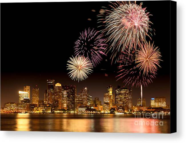 4th Of July Canvas Print featuring the photograph Fireworks Over Boston Harbor by Susan Cole Kelly
