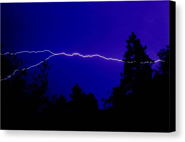 Night Canvas Print featuring the photograph Forked Lightning by Alfredo Martinez