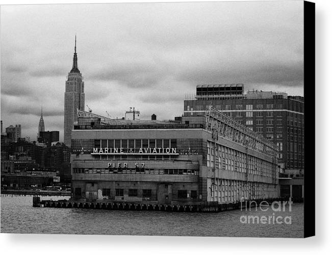 Usa Canvas Print featuring the photograph Hudson River Marine Aviation Pier 57 New York City by Joe Fox