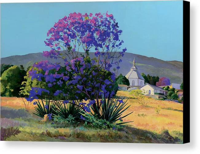Acrylics Canvas Print featuring the painting Jacaranda Holy Ghost Church In Kula Maui Hawaii by Don Jusko