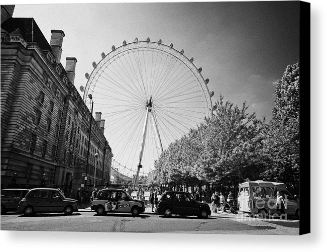 London Canvas Print featuring the photograph London Eye And County Hall Viewed From The Southbank London England Uk by Joe Fox