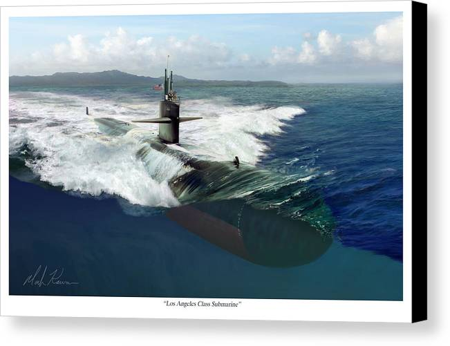 Submarine Canvas Print featuring the painting Los Angeles Class Submarine by Mark Karvon