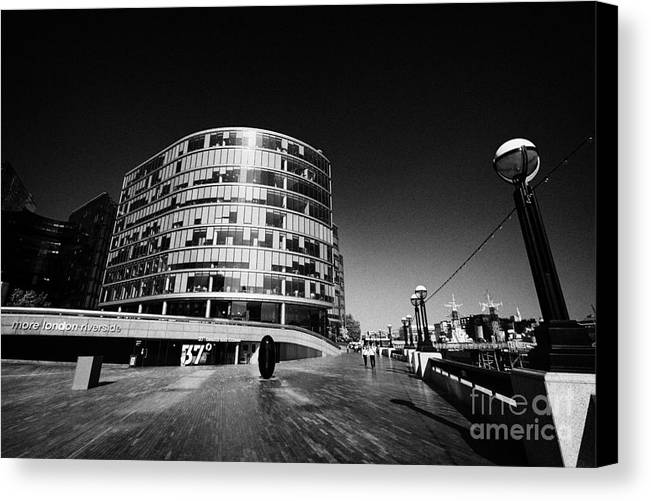 More Canvas Print featuring the photograph more london riverside place with the scoop London England UK by Joe Fox