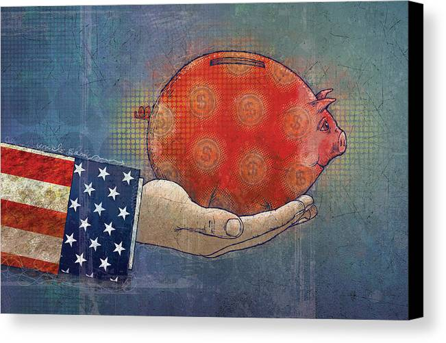 Bank Canvas Print featuring the digital art Never Enough by Dennis Wunsch