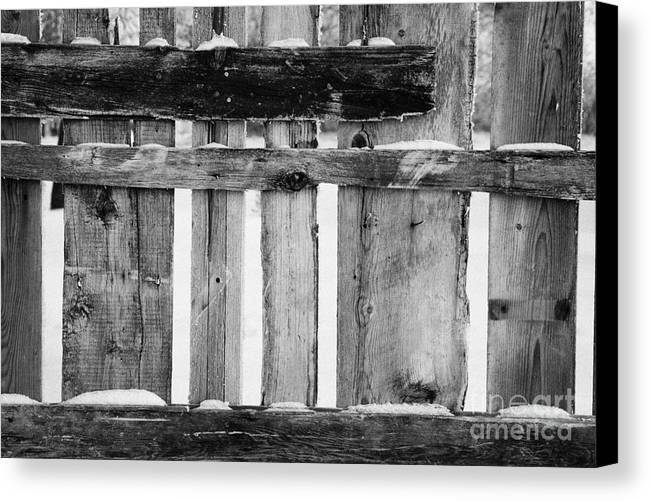 Old Canvas Print featuring the photograph old patched up wooden fence using old bits of wood in snow Forget by Joe Fox