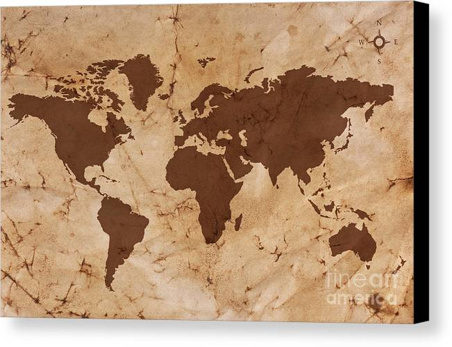 Old world map on creased and stained parchment paper canvas print world map canvas print featuring the photograph old world map on creased and stained parchment paper gumiabroncs Image collections