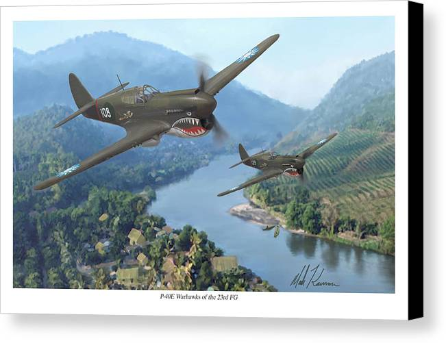 Airplanes Canvas Print featuring the painting P-40 Warhawks Of The 23rd Fg by Mark Karvon