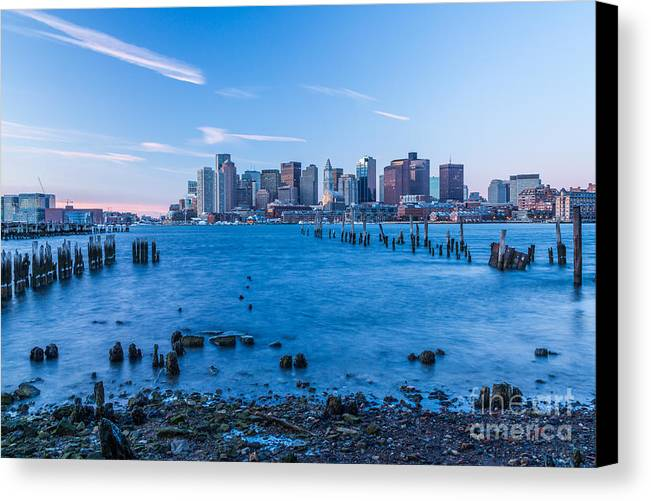 America Canvas Print featuring the photograph Pilings On Boston Harbor by Susan Cole Kelly