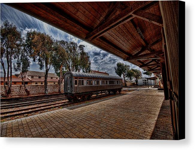 Kaballah Canvas Print featuring the photograph platform view of the first railway station of Tel Aviv by Ron Shoshani