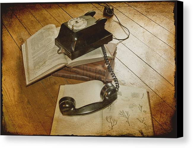 Vintage Telephone Canvas Print featuring the photograph Please Hold by Georgia Fowler