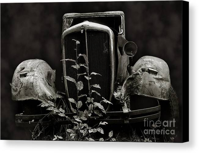 Black And White Canvas Print featuring the photograph Retired Truck by Ray G Foster